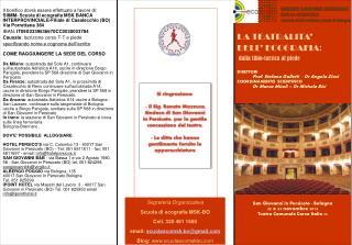 Segreteria Organizzativa Scuola di ecografia MSK-BO Cell. 320 461 1500