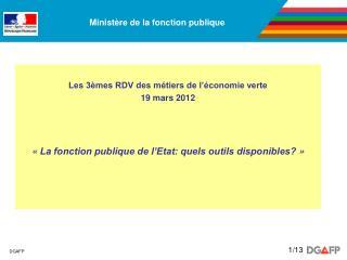 Les 3èmes RDV des métiers de l'économie verte 19 mars 2012