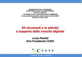 REGIONE SICILIANA – PRESIDENZA DIPARTIMENTO DELLA PROGRAMMAZIONE Seminario regionale