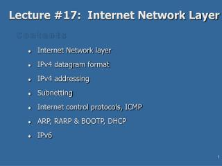 Lecture #17:  Internet Network Layer