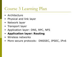 Course 3 Learning Plan