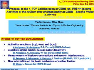 Proposal to the n_TOF Collaboration at CERN  on  IFIN-HH joining