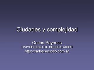 Ciudades y complejidad