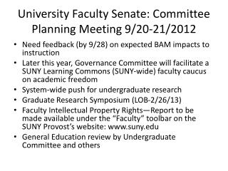 University Faculty Senate: Committee Planning Meeting 9/20-21/2012