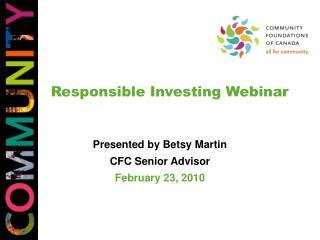 Responsible Investing Webinar