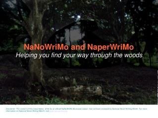 NaNoWriMo and NaperWriMo Helping you find your way through the woods