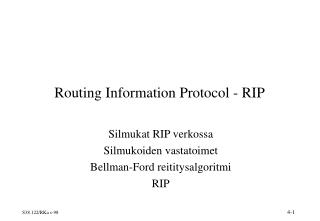 Routing Information Protocol - RIP