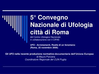 Gli UFO nella recente produzione normativo-documentaria dell'Unione Europea di Mauro Panzera