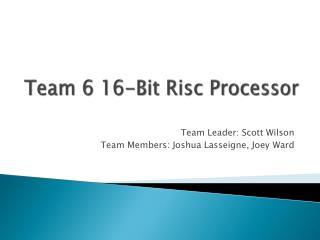 Team 6 16-Bit  Risc  Processor