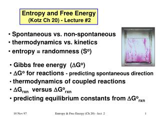 Entropy and Free Energy (Kotz Ch 20) - Lecture #2