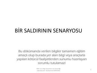 BİR SALDIRININ SENARYOSU