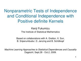 Kenji Fukumizu The Institute of Statistical Mathematics