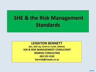 SHE & the Risk Management Standards
