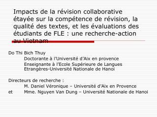 Do Thi Bich Thuy Doctorante à l'Université d'Aix en provence