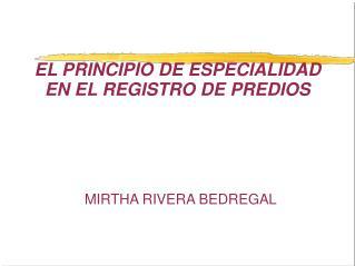 EL PRINCIPIO DE ESPECIALIDAD EN EL REGISTRO DE PREDIOS