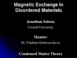 Magnetic Exchange in Disordered Materials