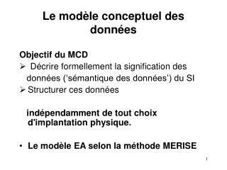 Le modèle conceptuel des données
