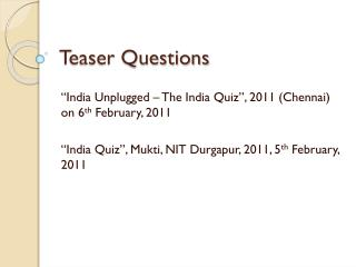 Teaser Questions