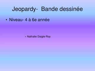 Jeopardy-  Bande dessinée
