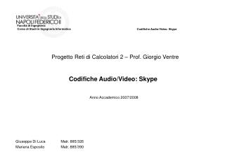 Codifiche Audio/Video: Skype