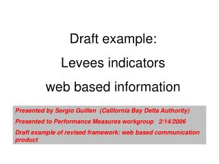 Draft example:  Levees indicators  web based information
