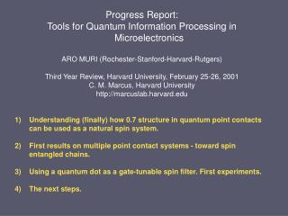 Progress Report: Tools for Quantum Information Processing in Microelectronics