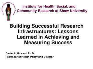 Institute for Health, Social, and  	  Community Research at Shaw University