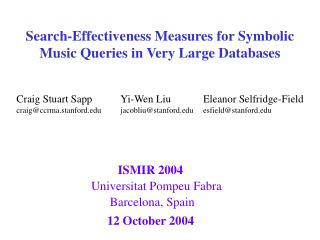 Search-Effectiveness Measures for Symbolic Music Queries in Very Large Databases