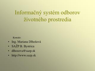 Informačný systém odborov životného prostredia