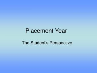 Placement Year