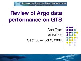 Review of Argo data performance on GTS