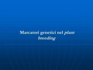 Marcatori genetici nel  plant breeding