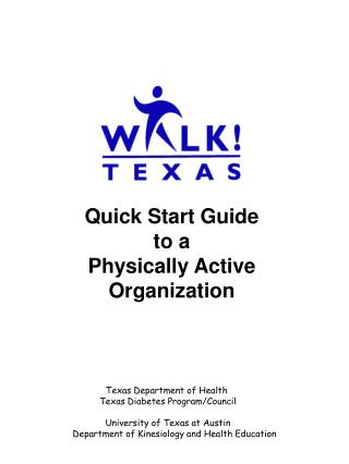Quick Start Guide to a  Physically Active Organization