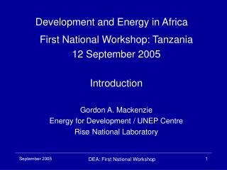 Development and Energy in Africa