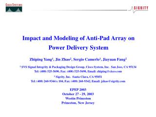 Impact and Modeling of Anti-Pad Array on Power Delivery System