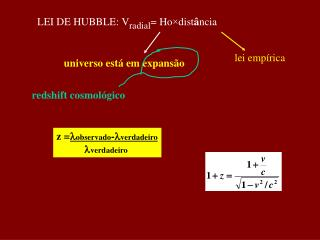 LEI DE HUBBLE: V radial = Ho ×dist â ncia