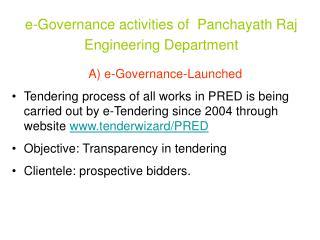 e-Governance activities of  Panchayath Raj Engineering Department