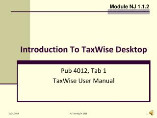 Introduction To TaxWise Desktop