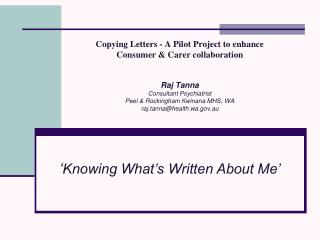 ' Knowing What's Written About Me'