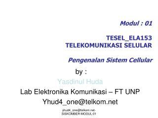 Modul : 01 TESEL_ELA153 TELEKOMUNIKASI SELULAR Pengenalan Sistem Cellular