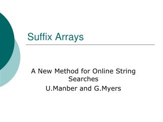 Suffix Arrays
