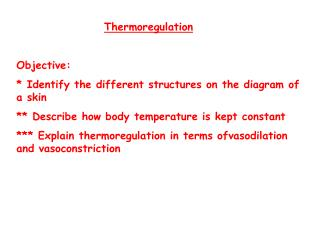 Thermoregulation Objective:  * Identify the different structures on the diagram of a skin
