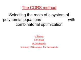 The CORS method