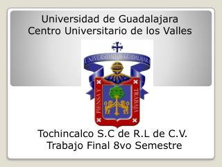 Universidad  de Guadalajara Centro Universitario de los Valles