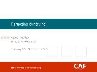 Perfecting our giving