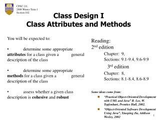 Class Design I Class Attributes and Methods