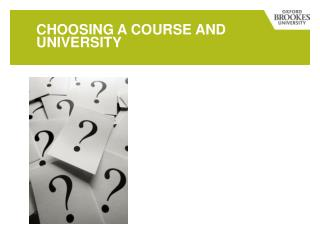 Choosing a course and university