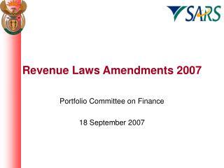 Revenue Laws Amendments 2007