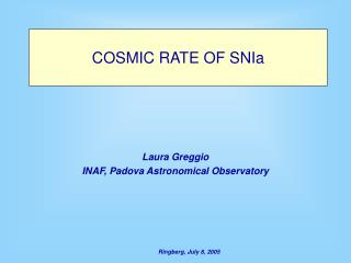 COSMIC RATE OF SNIa