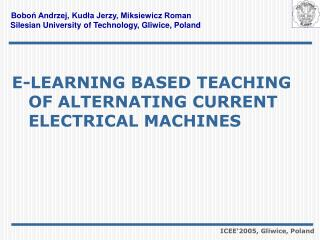 E-LEARNING BASED TEACHING  OF ALTERNATING CURRENT ELECTRICAL MACHINES